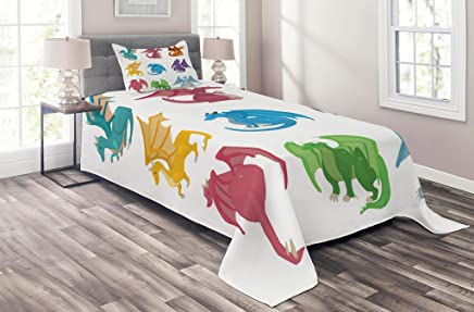 Lunarable Dragon Coverlet Set Twin Size,  Cute Little Baby Winged Dragons in Reptile Kids Nursery Cartoon,  2 Piece Decorative Quilted Bedspread Set with 1 Pillow Sham,  Multicolor