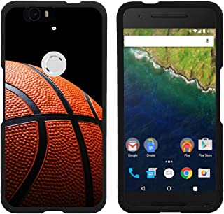 Compatible with Huawei Nexus 6P Case   Google Nexus 6P Case [Slim Duo] Fitted 2 Piece Hard Snap On Case Rubberized Coating on Black Sports and Games by TurtleArmor - Basketball Seams