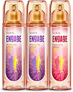 Engage Combo Pack Perfume Spray for Women (W1 and W2), Skin Friendly, (Pack of 3; 120ml Each), 360ml