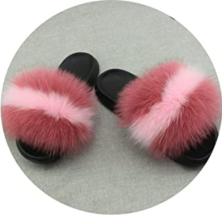 Real Fur Slippers Women Fox Home Fluffy Sliders Comfort with Feathers Furry Summer Flats Raccoon Ladies Shoes Large Size 45 Home