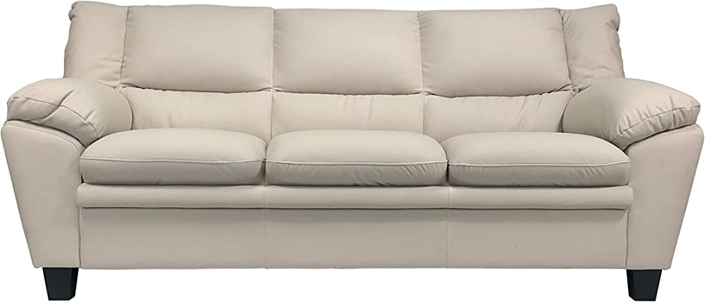 Totò piccinni, divano tre posti, in similpelle effetto nabuk, imbottito con braccioli, light grey
