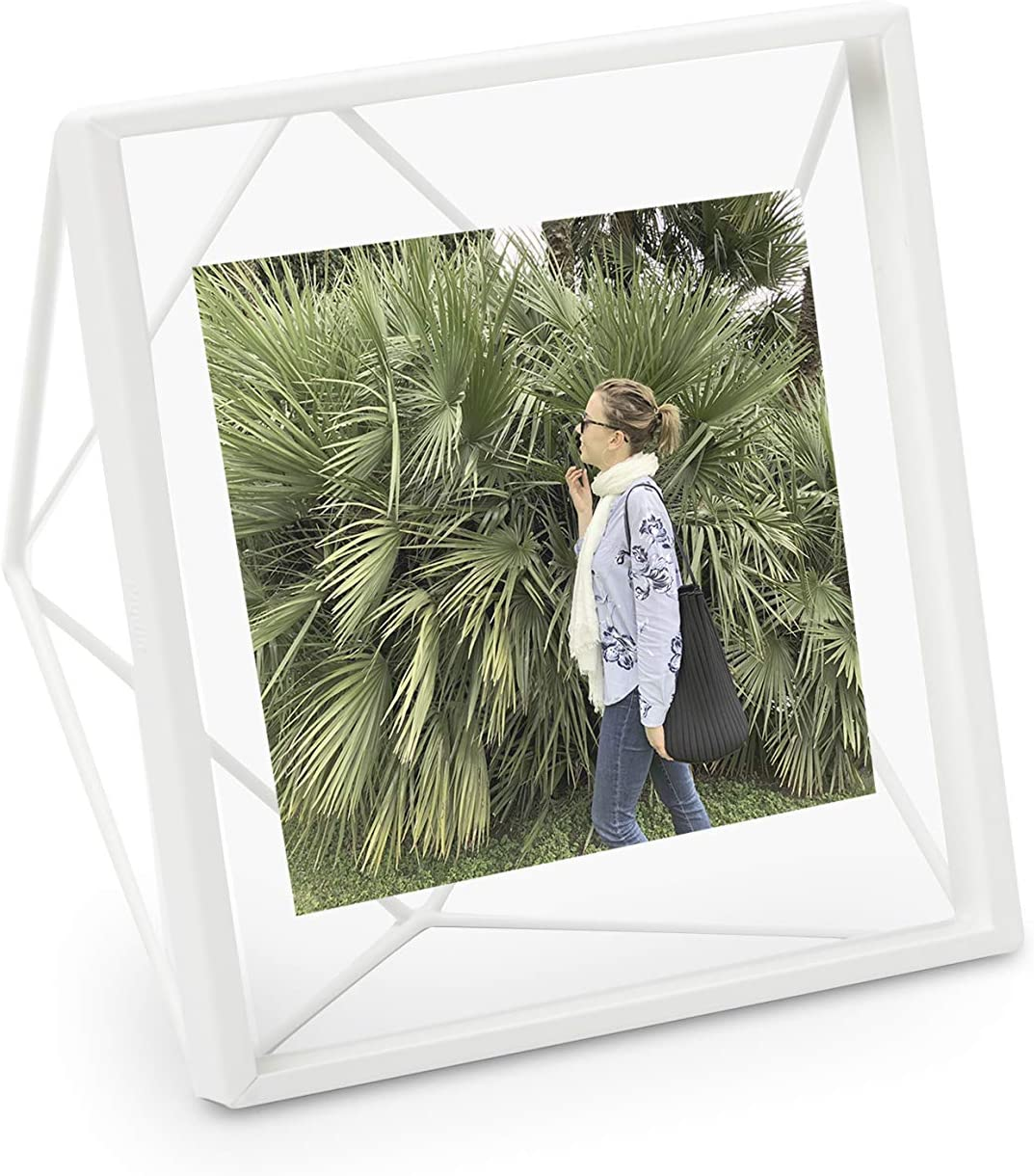 """Umbra, White Prisma 4x4 Picture Frame for Desktop or Wall, Holds One 4""""x4"""" Photo, 4 by 4-Inch"""