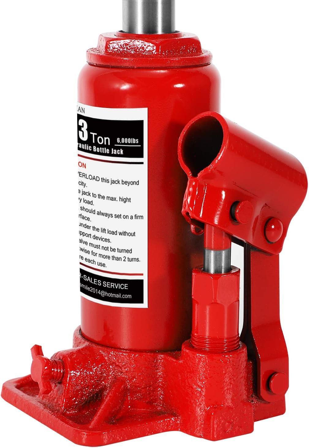 BAOSHISHAN 3 Ton Double Ram Bottle Jack 6-1//2 to 16-1//2 Lifting Range Portable Hydraulic Bottle Jack with Carrying Case
