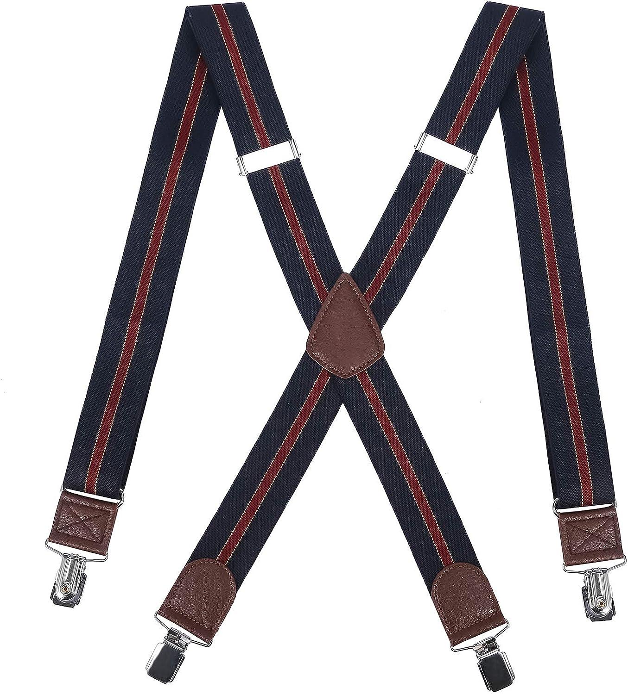 DEOBOX Men's Suspenders X Back Elastic Adjustable Metal Straight Clip