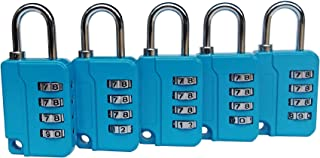 ZPLIUST - 4 Digit Combinations Padlock The Safe Cipher Lock,For Gym OutdoorHasp Cabinet & School,Resettable Code Lock (Blue 5 Pack)