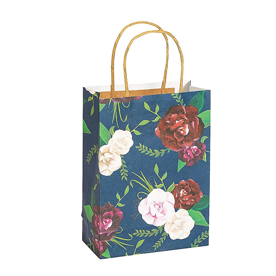 Fun Express Medium Navy Floral Paper Gift Bags | 12 Count | Great for Great for Wedding Party, Bridal Shower, Engagement Party, Birthday Celebration, Party Favor