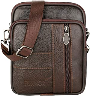 Ultramall Fashion Retro Men Leather Classic Pure Color Zipper Waist Pack Messenger Bag Business Bag For Men