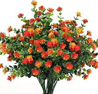 Y wang 5Pack Artificial Flowers Outdoor UV Resistant Plants Shrubs Fake Bushes Greenery for Indoor Outdoor Decor(Orange Red)