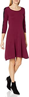 Nine West Women's 3/4 Fit & Flare Dress with Lace Detail at Sleeve, bordeaux, S