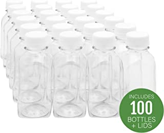 8-OZ Square Plastic Juice Bottles - Cold Pressed Clear Food Grade PET Bottles with Tamper Evident Safety Cap: Perfect for Juice Shops, Cafes and Catering Events - Disposable and Eco-Friendly - 100-CT