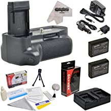 Professional Vertical Battery Grip With Sure Grip Technology For the Canon EOS Rebel T3 T5 1100D 1200D Kiss X50 Digital SLR Cameras Includes 2 Extended Life Canon LP-E10 LPE10 Replacement Battery Packs (2000MAH Each 4000MAH in Total) + 1 hour AC/DC Dual Battery Rapid Charger + Deluxe Lens Cleaning Kit + LCD Screen Potectors + Mini Tripod + 47stphoto Microfiber Cloth Photo Print !