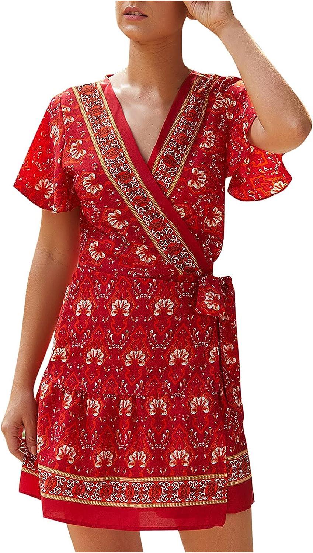 Short Tunic Dresses Women Spring with Lantern Sleeve Bohemian Chiffon Floral Evening Beach