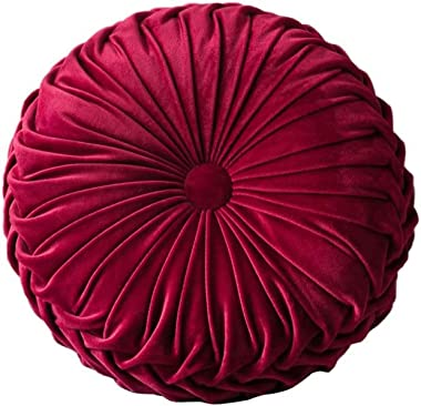 Burgundy Round Cushions Pillows Velvet Chair Sofa Pumpkin Throw Pillow Couch Cushion for Bed Car Home Decorative