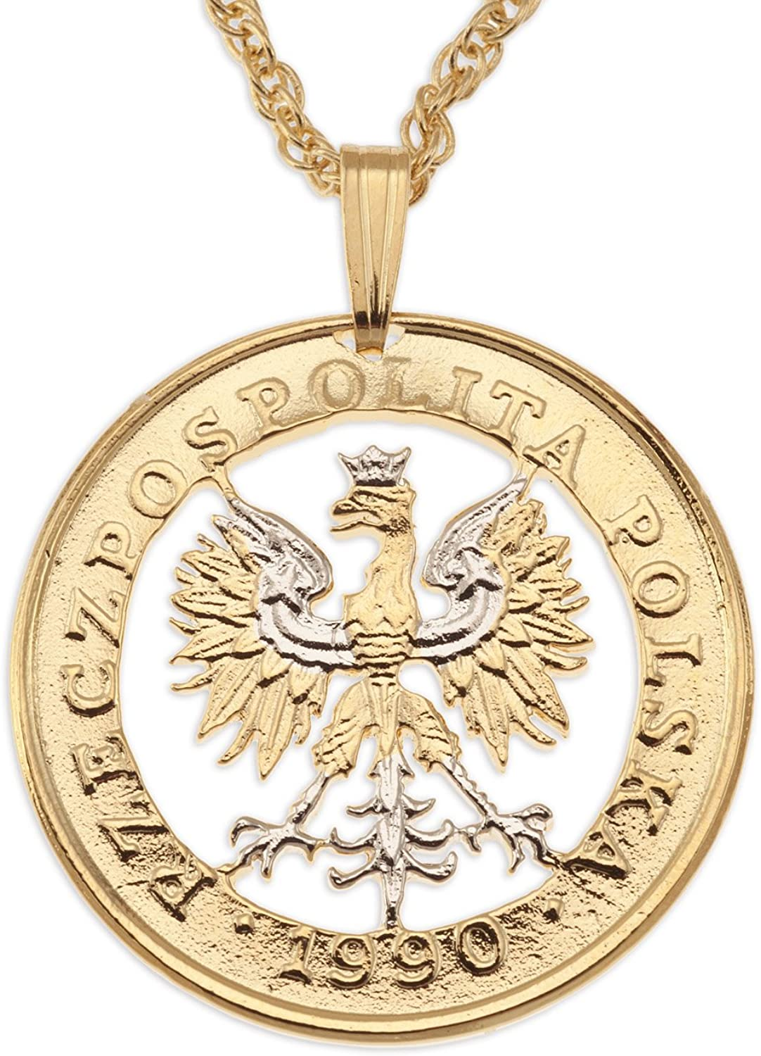 The Difference World Coin Jewelry Poland Eagle Pendant & Necklace, Poland 100 Zlotych Hand Cut