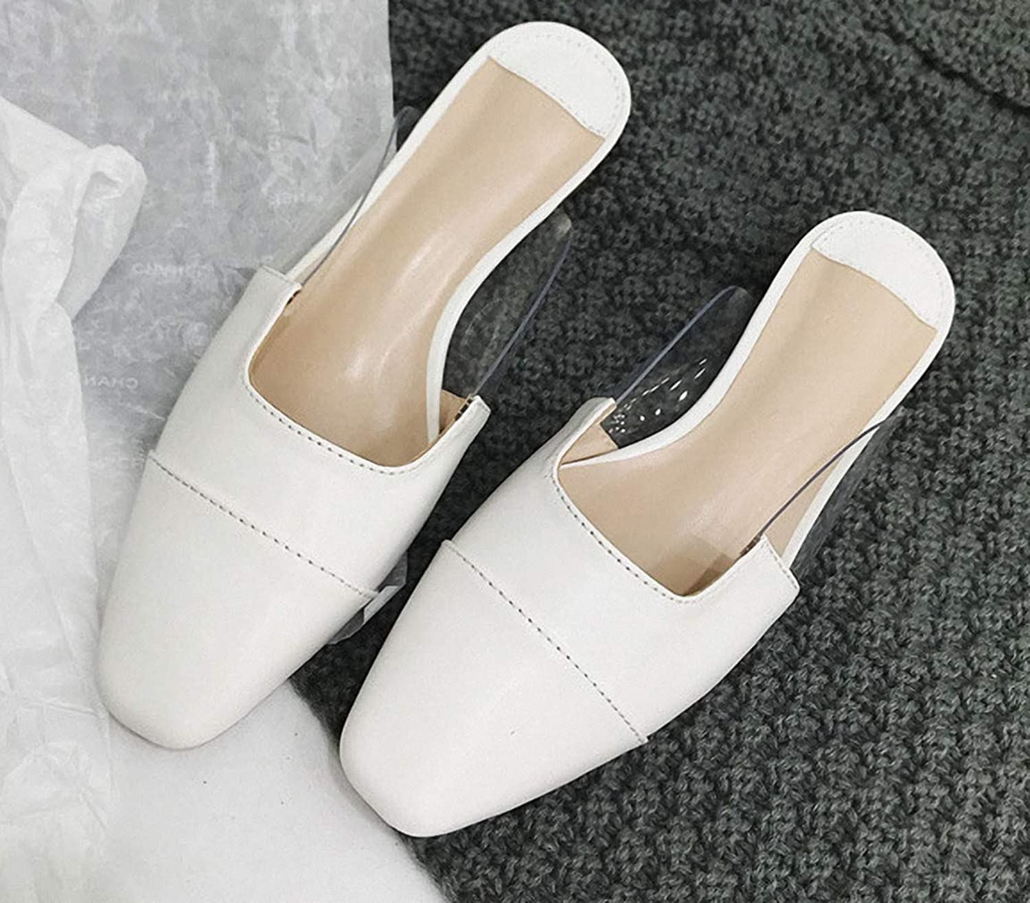 Tebapi Womens Low-Heeled Sandal shoes Spring and Autumn New Women Lazy Half Slippers Retro Pointed Suede Low with Mules shoes Wearing