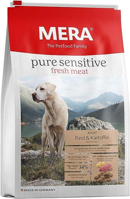 Mera Comida para Perros Pure Sensitive Fresh Meat de Carne de Vacuno y Patatas, Alta proteína 12,5 kg