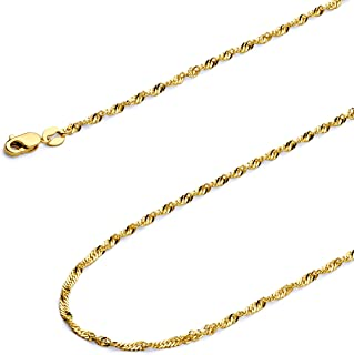 IcedTime 14K Yellow Gold Gourmette Chain 18 inch long x1.5mm wide