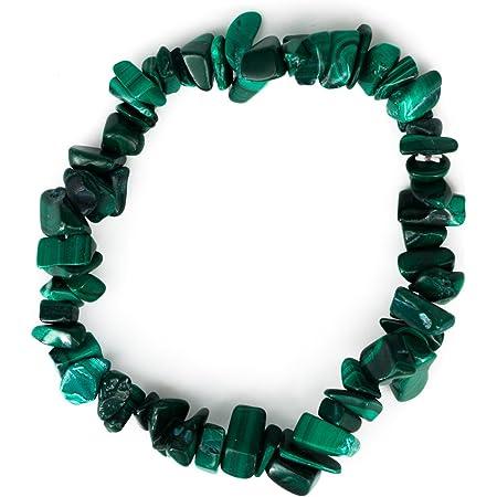 Taddart Minerals - Pulsera de piedra preciosa natural malaquita montada en hilo de nailon elástico - Hecha a mano.