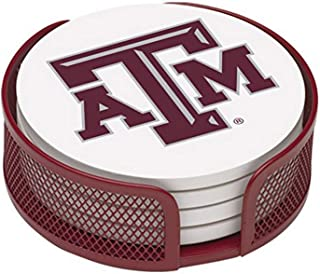 Thirstystone Stoneware Drink Coaster Set with Holder, Texas A and M