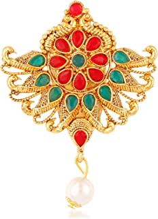 ca32cecc7 Om Jewells Gold Plated Traditional Ethnic Designer Brooch/Saree Pin  Decorated with Red and Green