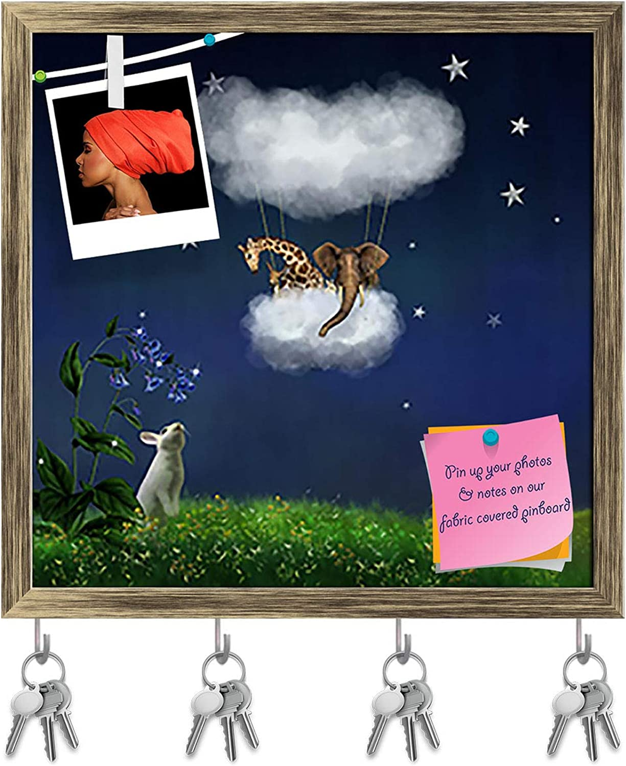 Artzfolio Animals Floating in The Clouds Key Holder Hooks   Notice Pin Board   Antique golden Frame 16.2 X 16Inch
