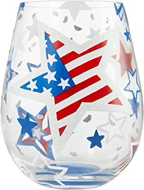 Enesco Designs by Lolita Home of the Brave Artisan Stemless Wine Glass, 20 Ounce, Multicolor