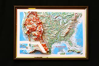 United States Map 3D Raised Relief Framed USA Map Amazing Decorative Bird's-Eye View