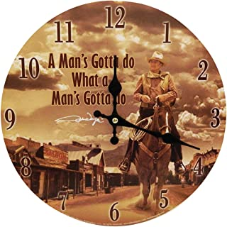 Midsouth Products John Wayne Man's Gotta Do Wooden Wall Clock - The Duke in The Saddle Décor