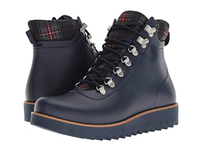 Bernardo Winnie Hiker Rain Boot (Navy Rubber/Navy Plaid) Women