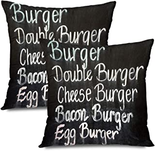 Ahawoso Set of 2 Throw Pillow Covers Square 18x18 Hand Gourmet Fast Food Cafe Chalkboard Menu Board Chalk Pub Signs Breakfast Symbols Drink White Zippered Pillowcases Home Decor Cushion Cases