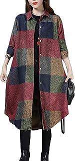 معطف شتوي مريح طويل للنساء من سبورتسXX بتصميم أنيق للخريف كبير الحجم منقوش