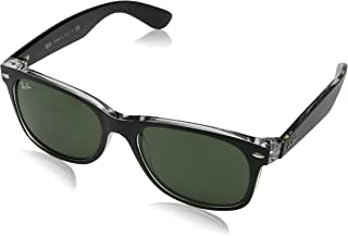 RAY-BAN RB2132 New Wayfarer Sunglasses, Black On Transparent/Green, 52 mm
