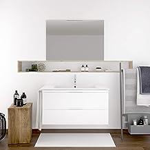 DUCHA.ES Mueble DE BAÑO SUSPENDIDO con Lavabo Espejo TOALLERO Y Aplique LED MIZAR 80 CM (Blanco Brillo)