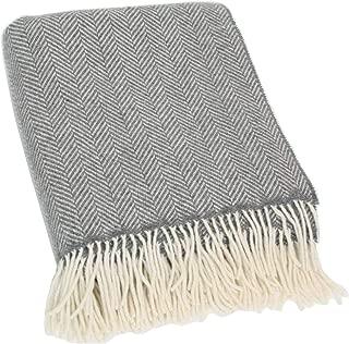 Biddy Murphy Herringbone Throw Blanket 95% Merino Wool 5% Cashmere Made in Ireland Grey & Cream