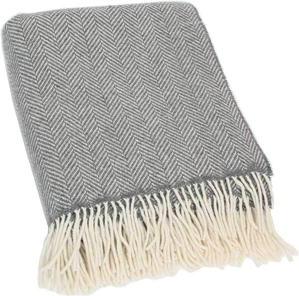 爱尔兰制造毕蒂墨菲美利奴羊毛毛毯爱尔兰美利奴羊毛和羊绒灰色人字纹 54 英寸宽 71 英寸流苏长款超软乔迁