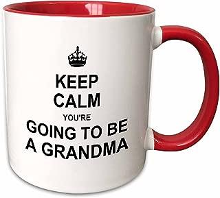 3dRose 194460_5 Keep Calm You're Going To Be A Grandma - Future Grandmother Text Gift Mug, 11 oz, Red