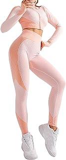 CINDYLOVER Conjunto Deporte Yoga Chándales 2 Piezas - Ropa Fitness para Mujer Pantalón Leggins Deportiva Top de Running de...