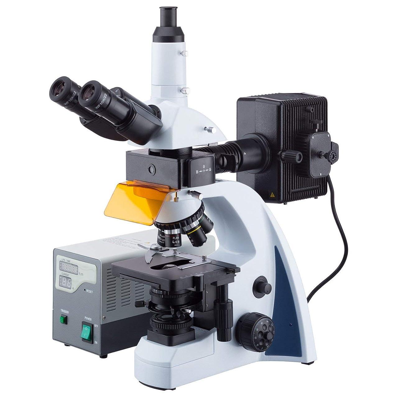 反乱テンション回答AmScope 40X-1000X LEDケーラー照明及び5重ノーズピースと無限遠補正蛍光顕微鏡