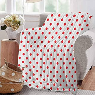 Luoiaax Red Luxury Special Grade Blanket Classical Pattern with Country Picnic Theme Retro Style Polka Dots Geometrical Spots Multi-Purpose use for Sofas etc. W70 x L70 Inch Red White