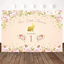 Mehofoto Bunny 1st Birthday Party Backdrop Pink Flower Photography Background 7X5ft Children Baby 1st Birthday Party Banner Decoration Vinyl Photo Backdrops