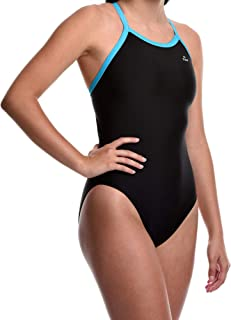 Flow Ignite Swimsuit for Girls - Size 25 to 30 One Piece Competition Swim Suit in Black, Blue, and Red