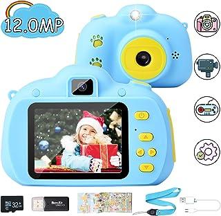 Hangrui Cámara para Niños HD Doble Objetivo Juego Video Cámara de Fotos Digital con Tarjeta de Memoria de 32GB Pantalla de Protección Ocular IPS de 24 Pulgadas a Prueba de Golpes (Azul)