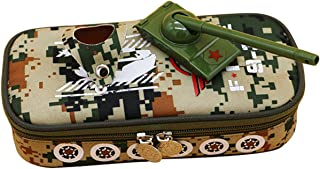 Insun Canvas Pencil Case for Boys Camo Tank Style Large Capacity Zipper Pencil Case for Kids with Layers Army Camo