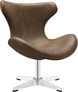 Modway Helm Mid-Century Modern Faux Leather Wingback Accent Lounge Arm Chair In Brown