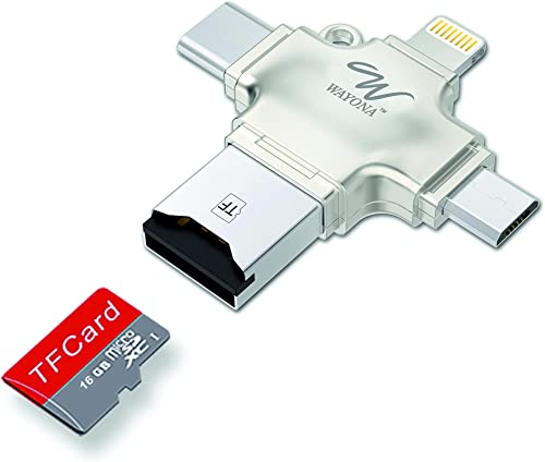 Wayona 4 in 1 OTG Card Reader Four Ports : Lightning + Type C + Micro USB + USB Card Reader - Like Iflash, Idisk for ...