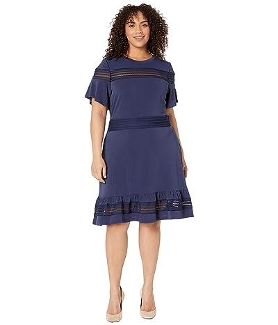 MICHAEL Michael Kors Plus Size Mesh Mix Short Sleeve Dress (True Navy) Women