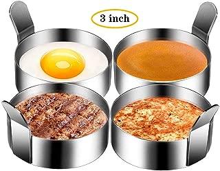 Winkeyes 4pcs 3 Inch Stainless Steel Round Pancake Rings Egg Rings, Non Stick Fried Egg Mold, Pancakes Maker Molds, Breakfast Egg Sandwich Cooker Maker