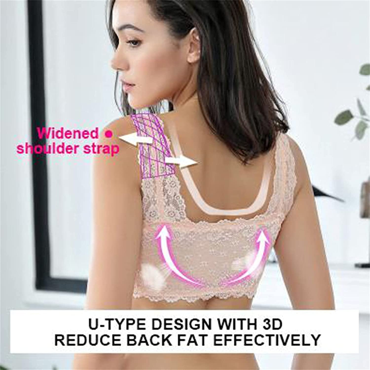 Sport Bra for Women's Adjustable Front Zipper Closure Extra-Elastic Large Wire-Free Sleep Side-Finish Lace Bra