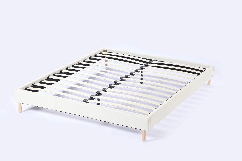Cama futón doble con somier y patas de madera, revestimiento de tela blanco (140_x_190_cm)