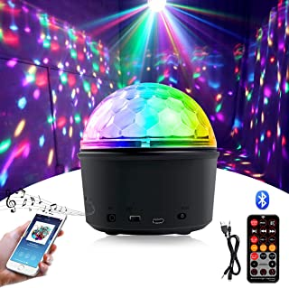 Homealexa Bola de discoteca LED efectos de luz de discoteca con altavoz Bluetooth, luz de discoteca, proyector, lámpara de discoteca, 9 colores, luz de fiesta con mando a distancia y cable USB